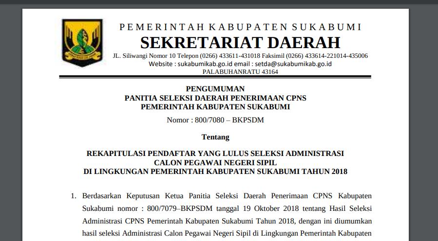 Hore, ini dia Pengumuman Pendaftar Yang Lulus Seleksi Administrasi CPNS 2018 Pemkab. Sukabumi